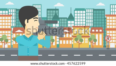 An asian young cameraman looking through movie camera. Man with professional video camera in the city. Cameraman shooting outdoor. Vector flat design illustration. Horizontal layout. - stock vector
