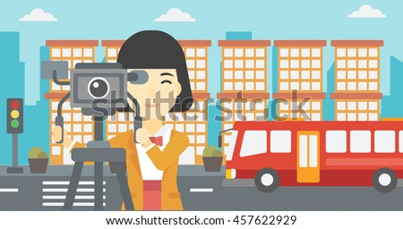 An asian young female cameraman looking through movie camera on a tripod. Young woman with professional video camera shooting in the city. Vector flat design illustration. Horizontal layout. - stock vector