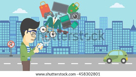 An asian young man holding a smartphone with shopping cart and application icons flying out on a city background. Vector flat design illustration. Horizontal layout. - stock vector