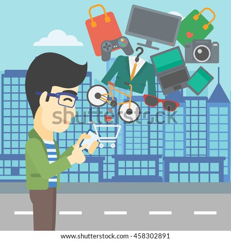 An asian young man holding a smartphone with shopping cart and application icons flying out on a city background. Vector flat design illustration. Square layout. - stock vector