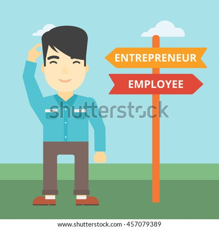 An asian young man standing at road sign with two career pathways. Man choosing career pathway. Man making a decision of his career pathway. Vector flat design illustration. Square layout. - stock vector