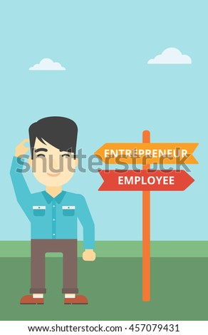 An asian young man standing at road sign with two career pathways. Man choosing career pathway. Man making a decision of his career pathway. Vector flat design illustration. Vertical layout. - stock vector