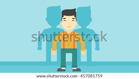 An asian  young man standing with some shadows behind him. Candidat for a position stand out from crowd. Concept of staff recruitment. Vector flat design illustration. Horizontal layout. - stock vector