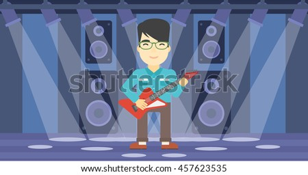 An asian young musician playing electric guitar on the stage of nightclub. Man practicing in playing guitar. Guitarist playing music. Vector flat design illustration. Horizontal layout. - stock vector