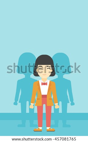 An asian  young woman standing with some shadows behind her. Candidat for a position stand out from crowd. Concept of staff recruitment. Vector flat design illustration. Vertical layout. - stock vector