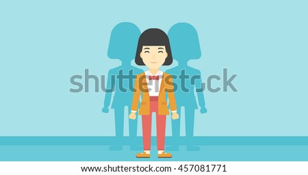 An asian  young woman standing with some shadows behind her. Candidat for a position stand out from crowd. Concept of staff recruitment. Vector flat design illustration. Horizontal layout. - stock vector