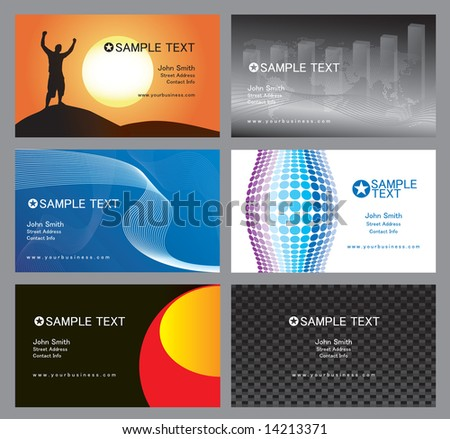 An assortment of totally editable vector based business cards.  Clean and simple designs that you can implement with your own corporate identity. - stock vector