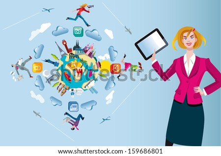 An attractive and friendly woman with a tablet in the foreground. Behind her a world globe with monuments from the five continents. Four characters run and jump through the clouds while working. - stock vector
