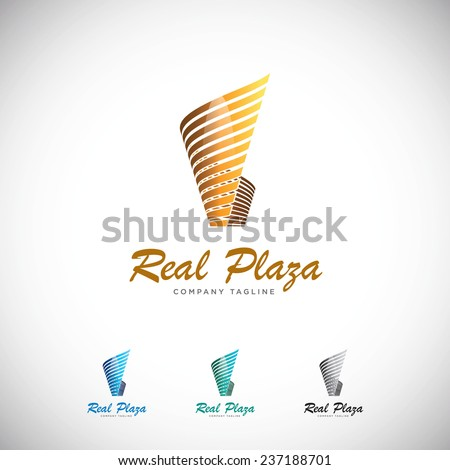 An attractive Plaza Modern Stylish vector logo symbol.  - stock vector