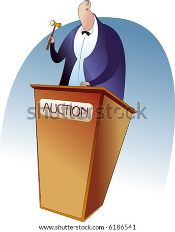 AN auctioneer with a gavel. - stock vector