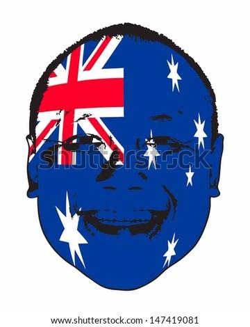 An Australia flag on a face, isolated against white.  - stock vector