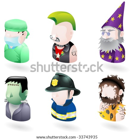 An avatar people web or internet icon set series. Includes a doctor or surgeon, a punk, a wizard or magician, Frankenstein monster, a firefighter or fireman and a caveman. - stock vector