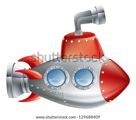 An drawing of a cute cartoon submarine in childrens illustration style. - stock vector