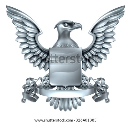 An eagle silver metal shield heraldic heraldry coat of arms design with a banner scroll. - stock vector
