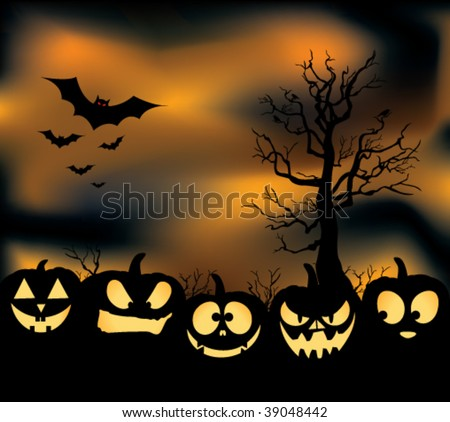 An eerie pumpkin patch with jack-o-lanterns, bats, crows, and an orange cloudy haze. - stock vector