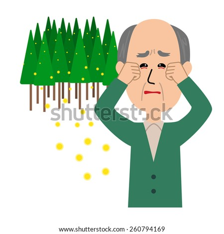 An elderly man with itchy eyes, allergy caused by cedar pollen, vector illustration - stock vector