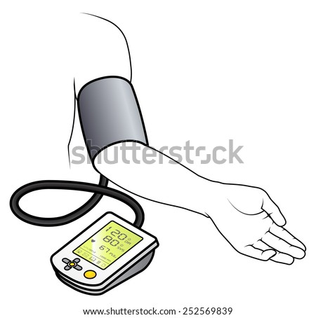 An electronic blood pressure monitor attached to an arm. - stock vector