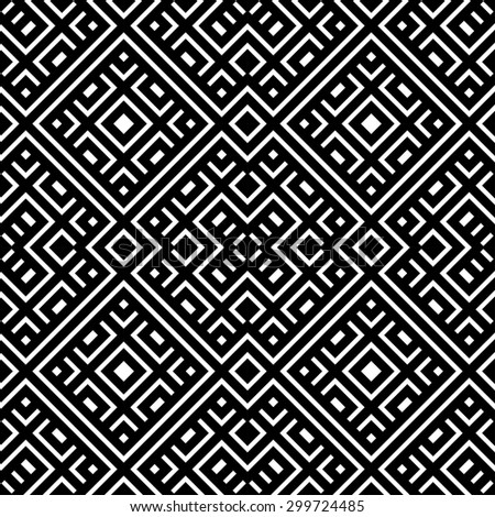 An elegant black and white, vector pattern - stock vector