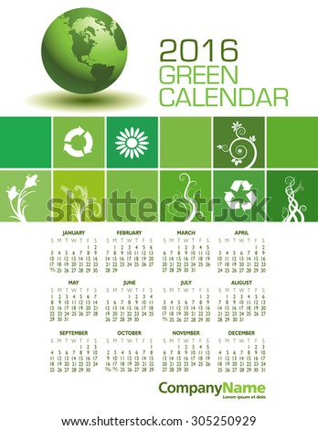 An Elegant 2016 Green Calendar with Space for Type - stock vector