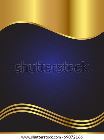 An elegant vector background in dark blue with gold trim - stock vector