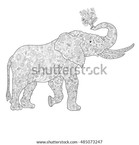 An Elephant Coloring Book For Adults Vector