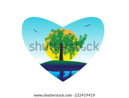 An emblem in the form of heart and a landscape, a tree, the sun and birds - stock vector