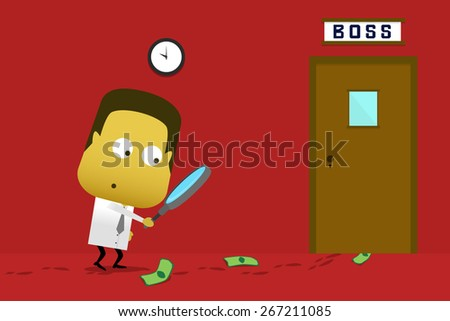 An employee looking for traces of the money - stock vector