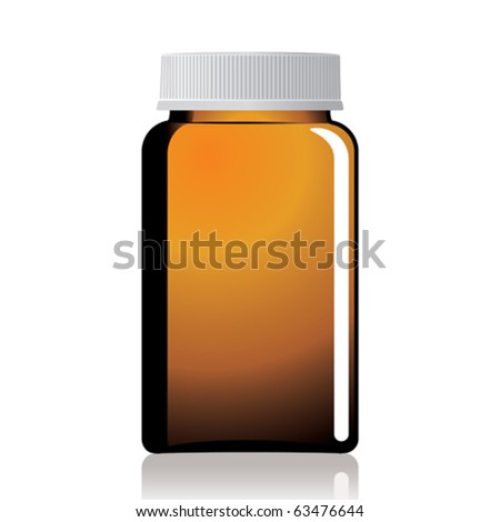 An empty glass bottle of pills and unlabeled. - stock vector