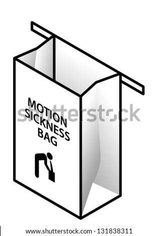 An empty motion sickness bag. - stock vector