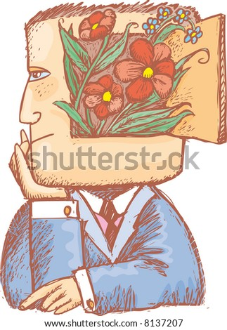 an enchanted man with flowers inside his head, A melancholy and romantic spring image.
