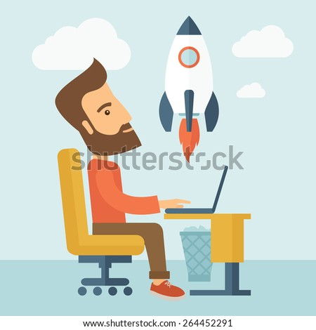 An enthusiastic, eager hipster Caucasian young man with beard sitting in front of his laptop browsing, researching  and planning a metaphor for new business. On-line start up business concept. A - stock vector