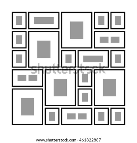 Example Arrangement Photo Frames On Wall Stock Photo (Photo, Vector ...