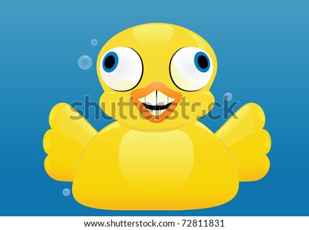 An excited rubber duck spreads its wings. - stock vector