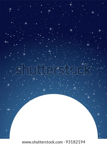 An expansive, starry, night sky sits above a white moon. - stock vector