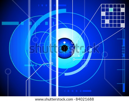 An eyeball is submitted to a security retina scan - stock vector