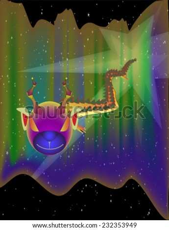 An halloween dragon with a human head flying in a stary night. A funny monster dragon in an aurora borelalis night. A vector eps10 version of halloween dragon. - stock vector