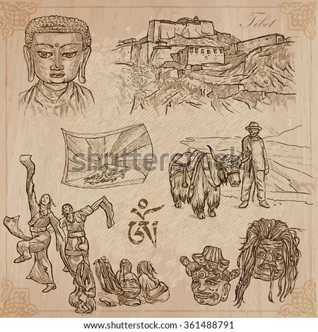 An hand drawn collection, Travel, TIBET, Pictures of Life. Description - Vectors, freehand sketching. Editable in layers and groups. Background is isolated. All things are named inside the vector pack - stock vector