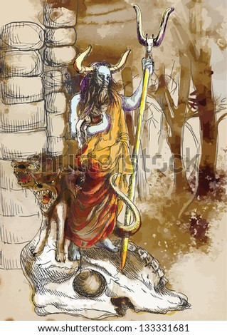An hand-drawn illustrations (into 4 layers vector) in ancient Greek myths: HADES (was the ancient Greek god of the underworld) and CERBERUS (hell hound which guards the gates of the Underworld) - stock vector