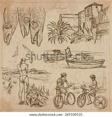An hand drawn pack, Travel - PORTUGAL, Pictures of Life. Description - Vectors, freehand sketching. Editable in layers and groups. Background is isolated. All things are named inside the vector file.