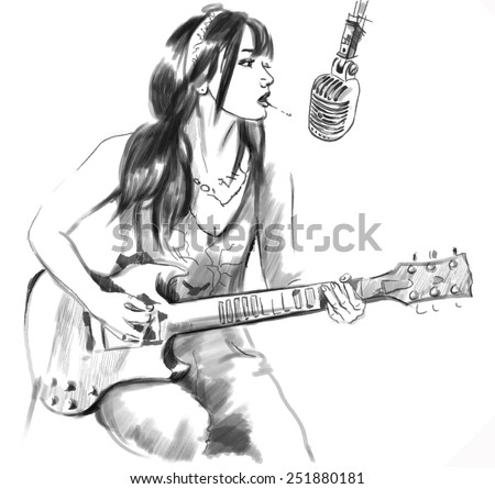 An hand drawn vector illustration. Series of Smoking: Young woman smoking cigarette and playing Guitar. Drawing comprise three layers. Drawing on white. Easy editable in layers and groups. - stock vector