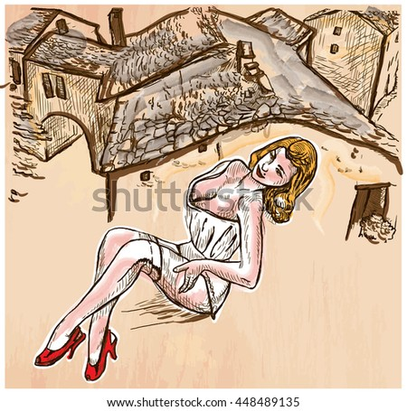 An hand drawn vector - SUMMER FASHION. An pin up sexy young woman posing in front of old roofs - colored line art. Vector is editable in groups and layers - freehand sketching. - stock vector