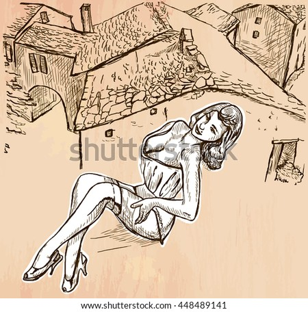 An hand drawn vector - SUMMER FASHION. An pin up sexy young woman posing in front of old roofs - line art. Vector is editable in groups and layers - freehand sketching. - stock vector