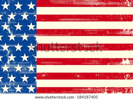 An horizontal american flag for a poster design - stock vector