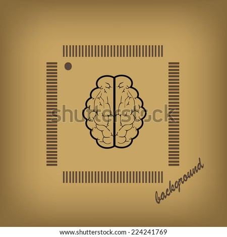 an human brain as a central processing unit. - stock vector