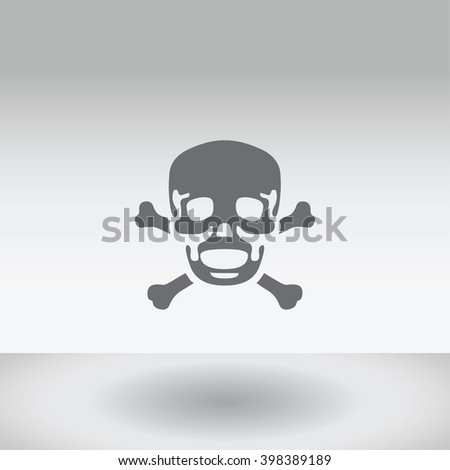 An Icon Illustration Isolated on a Background - Skull and Cross Bones - stock vector
