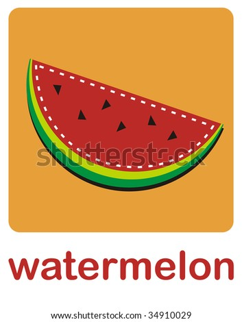 An icon of watermelon fruit over a orange background.