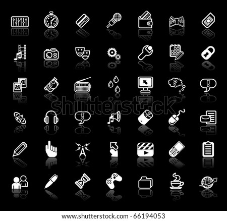 An icon set relating to internet media applications - stock vector