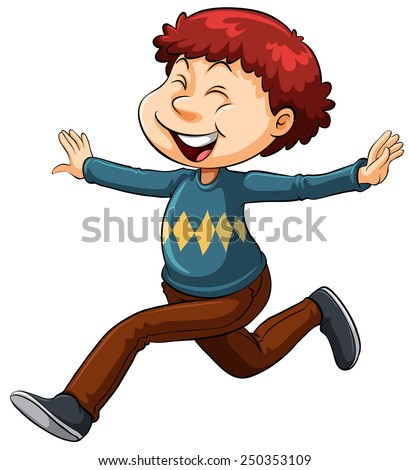 An idiom showing a happy man on a white background - stock vector