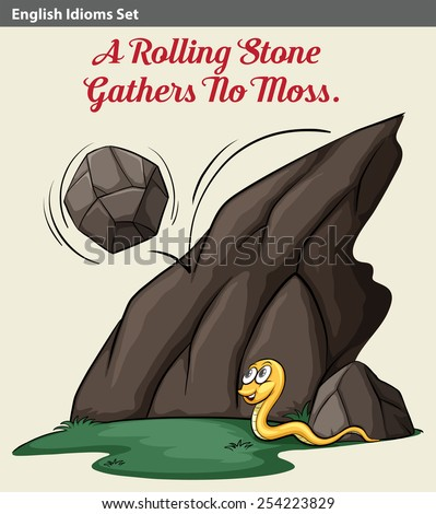 An idiom showing a rolling stone and a snake - stock vector