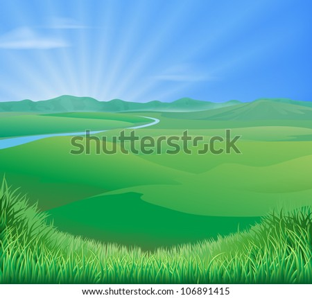 An idyllic rural landscape illustration with rolling green grass hills and a sun rising over mountains - stock vector